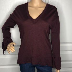 J.Crew Merino V-Neck Sweater Merlot Color Size S